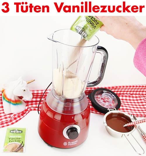 3 Tütchen Vanillezucker zufügen