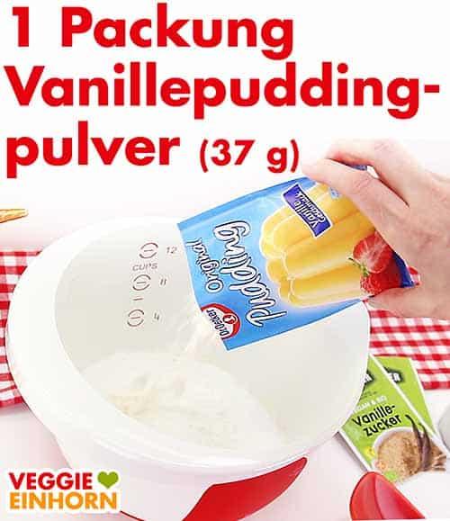Eine Packung Vanillepuddingpulver