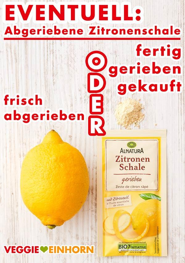 Eine Zitrone und eine Tüte abgeriebene Zitronenschale