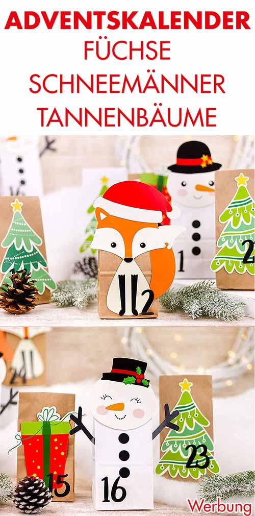 Adventskalender mit Füchsen, Schneemännern und Tannenbäumen