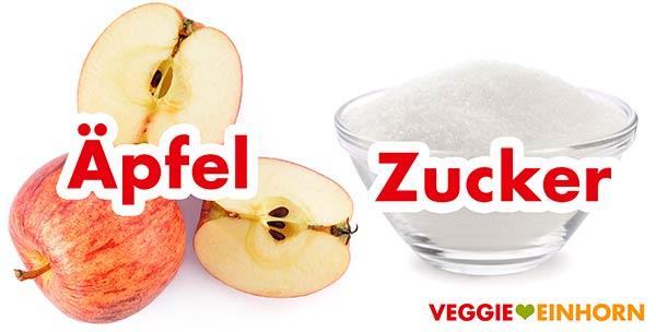 Äpfel und Zucker für Apfelbrot