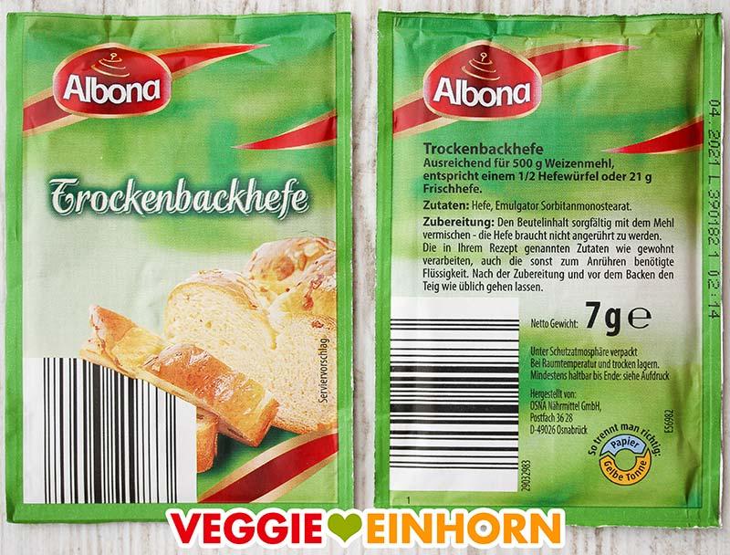 Päckchen Trockenbackhefe von Albona (ALDI Nord)