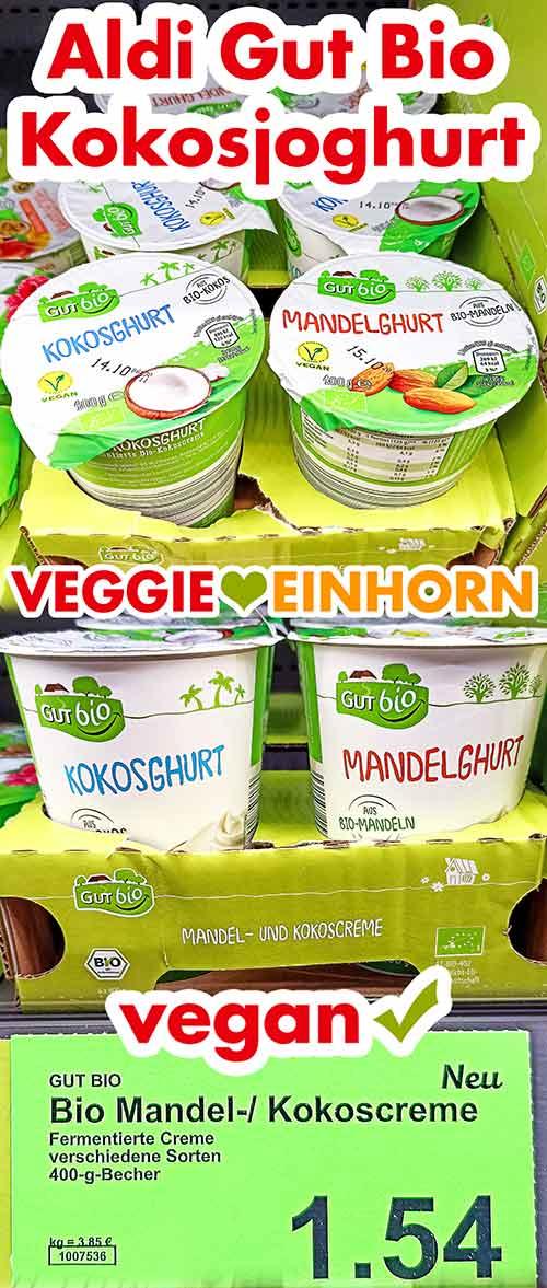 Kokosjoghurt im Kühlregal bei Aldi