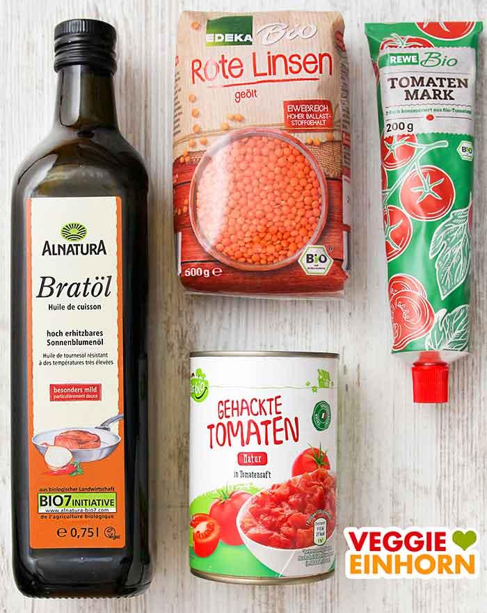 Alnatura Bratöl, Edeka Rote Linsen, Rewe Tomatenmark, Aldi GutBio Tomaten