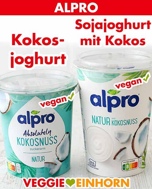 Zwei Becher veganer Joghurt von Alpro