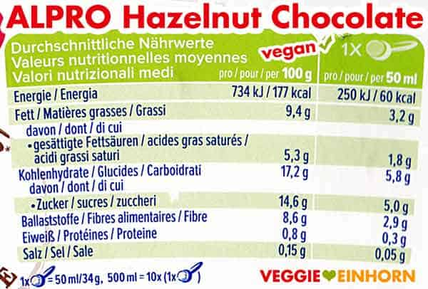 Nährwerte Alpro Hazelnut Chocolate