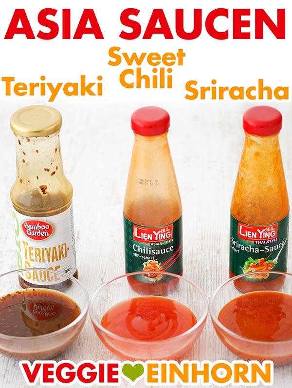 Drei Flaschen mit Asia Saucen