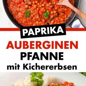 Paprika Auberginen Pfanne mit Kichererbsen in einer Pfanne und auf einem Teller