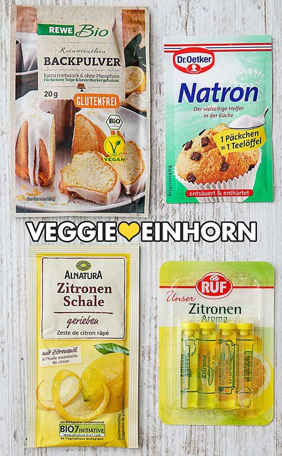 Backpulver, Dr. Oetker Natron, geriebene Zitronenschale, Zitronenaroma