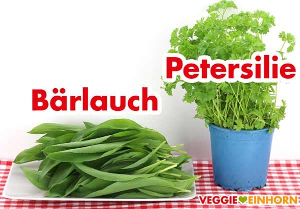 Frischer Bärlauch und Petersilie für Pesto