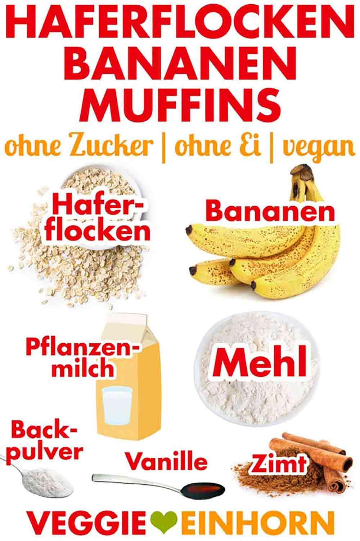 Zutaten für Haferflocken Bananen Muffins