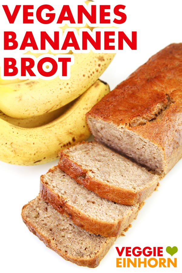 Einfaches veganes Bananenbrot | Saftig, lecker und sehr einfach zu machen | vegane Rezepte deutsch | Vegan backen zum Frühstück oder nachmittags zum Kaffee. Einfaches veganes Rezept mit Schritt-für-Schritt Fotos und VIDEO. #VeggieEinhorn