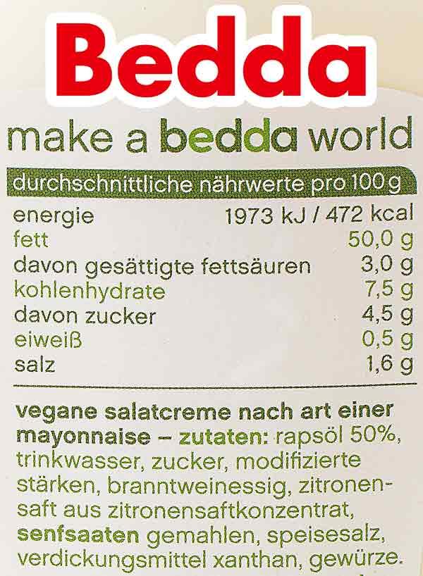 Bedda Mayo Nährwerte und Zutaten
