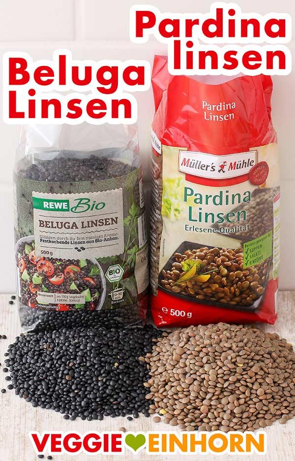 Eine Packung Beluga Linsen und eine Packung Pardina Linsen