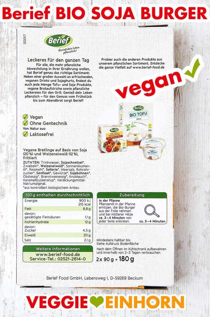 Packungsrückseite Berief Bio Soja Burger