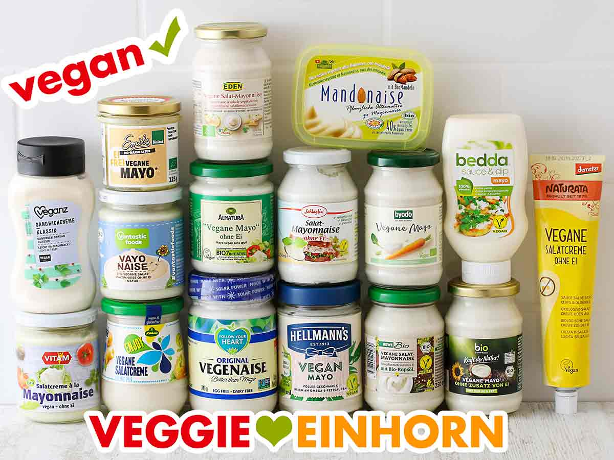 Gläser mit veganer Mayonnaise ohne Ei
