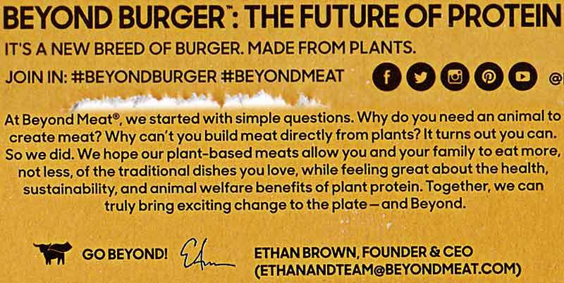 Text von der Beyond Burger Packung: The Future of Protein