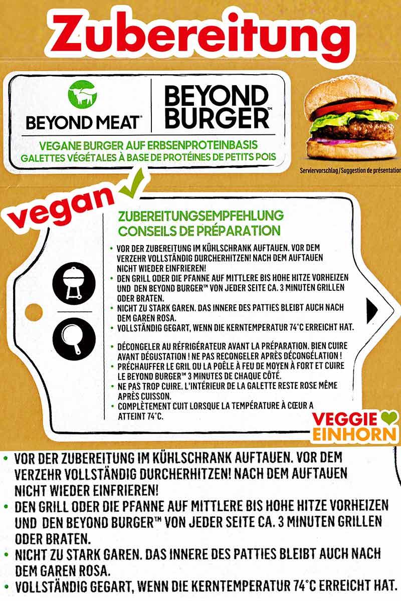 Hinweise zur Zubereitung auf der Packung des Beyond Burgers