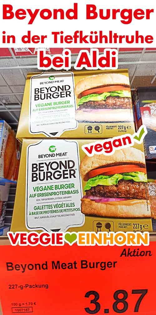 Tiefgekühlte Packungen mit Beyond Meat Burger bei Aldi