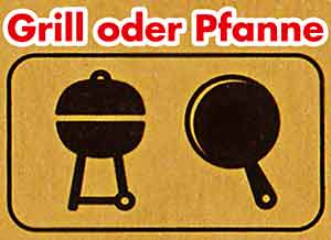 Ein Grill und eine Pfanne auf der Verpackung des Beyond Burgers