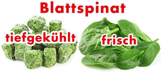TK-Spinat und frischer Blattspinat