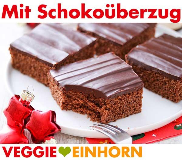 Lebkuchen mit Schokoladenüberzug auf einem Teller