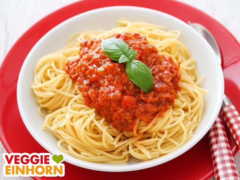 Spaghetti bolognese mit veganem Hack
