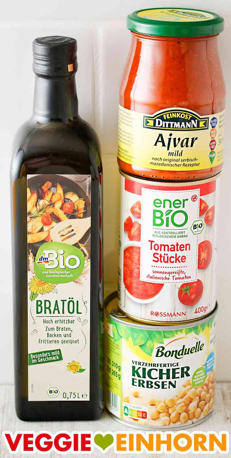 Bratöl, Ajvar, Tomaten aus der Dose, Kichererbsen