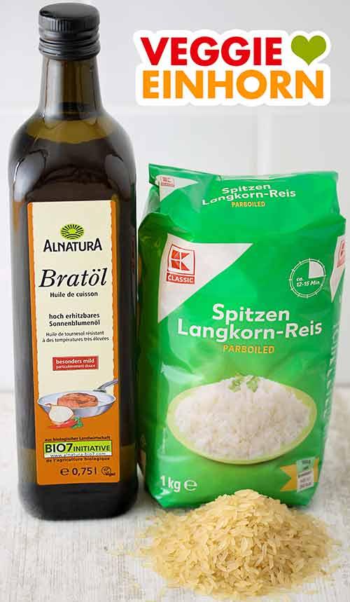 Eine Flasche Bratöl von Alnatura und eine Packung Langkornreis parboiled von Kaufland