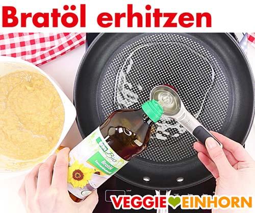 Bratöl erhitzen für vegane Kartoffelpuffer