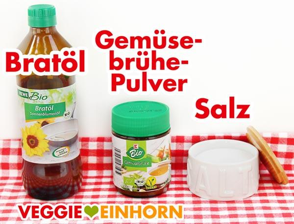 Bratöl, veganes Gemüsebrühepulver, Salz
