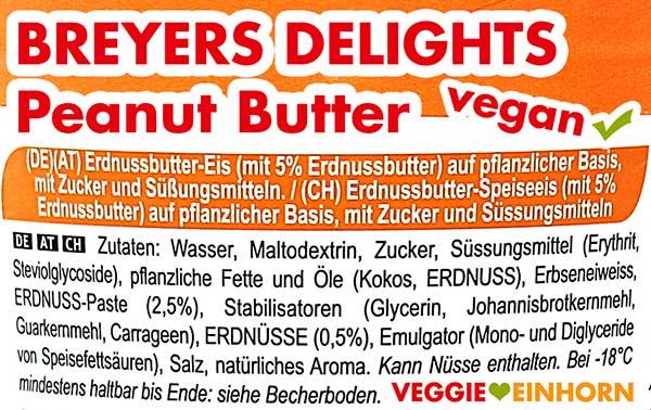 Inhaltsstoffe von Breyers Delights Peanut Butter
