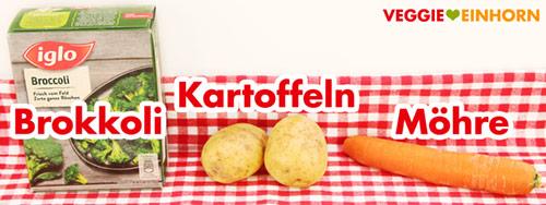 Tiefgefrorener Brokkoli, Kartoffeln, Möhre