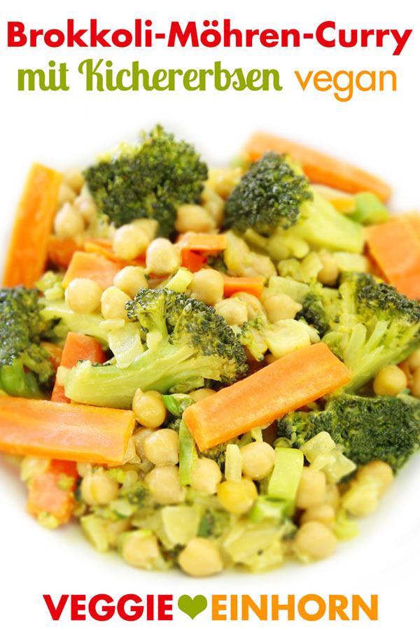Fertiges Curry mit Brokkoli, Möhren und Kichererbsen