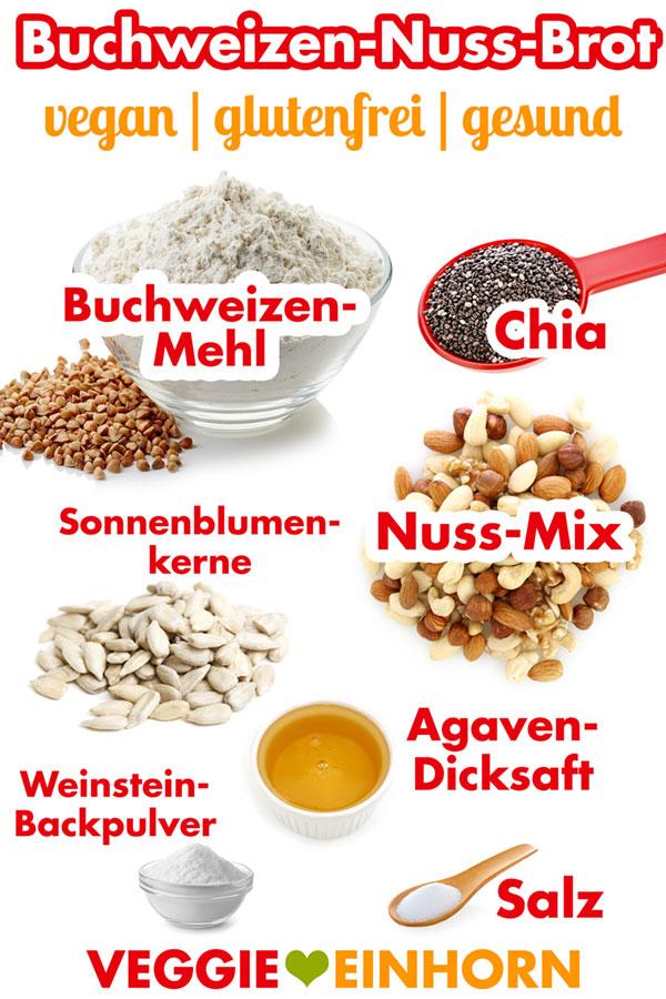 BUCHWEIZEN-NUSS-BROT Einfaches gesundes Buchweizenbrot selber backen: Buchweizenbrot mit Buchweizenmehl, Nüssen und Chia Samen. Gesundes Rezept für veganes glutenfreies Brot ohne Hefe. Vegan backen. Vegane Rezepte deutsch. Einfache vegane Rezepte mit VIDEO #VeggieEinhorn