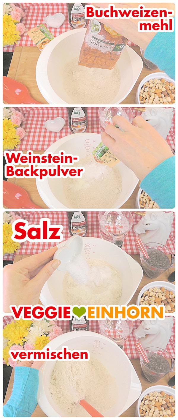 Buchweizenmehl, Backpulver und Salz mischen