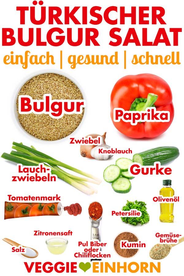 Zutaten für Bulgursalat