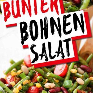Bunter Bohnensalat mit grünen, roten und weißen Bohnen