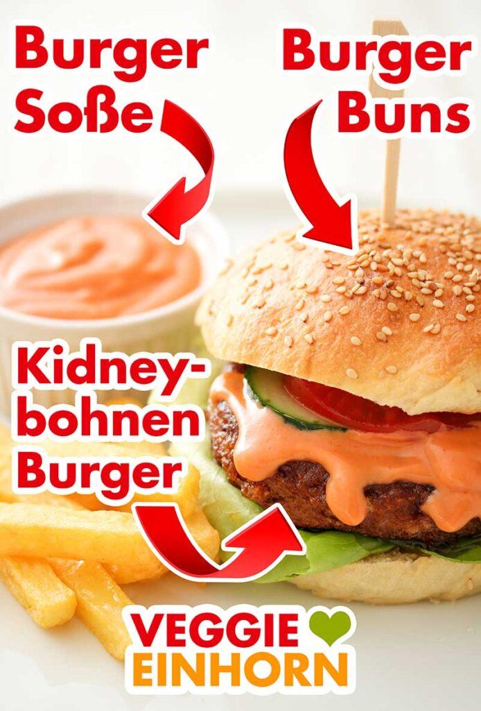 Ein selbst gemachter Burger mit Burgerbrötchen, Sauce und Kidneybohnen Patty