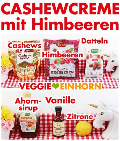 Cashew Creme mit Himbeeren | Vegane Dessert Creme zum Nachtisch | schnell, einfach, gesund, glutenfrei, ohne Zucker