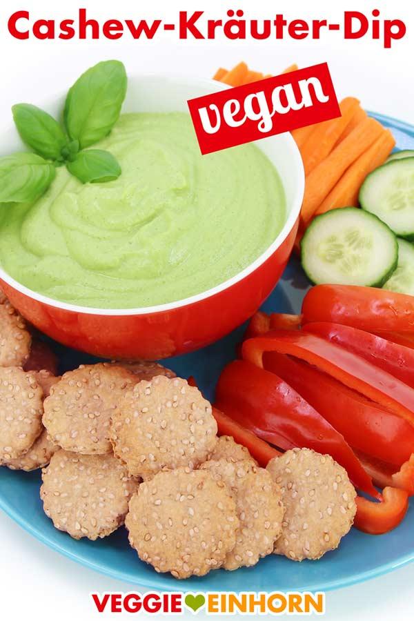 Cashew-Kräuter-Dip mit veganen Crackern