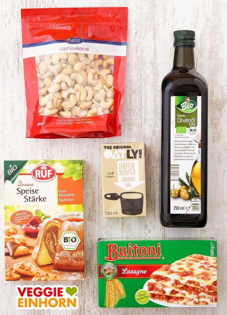 Cashewkerne, Olivenöl, Hafer Cuisine, Speisestärke, Lasagneblätter