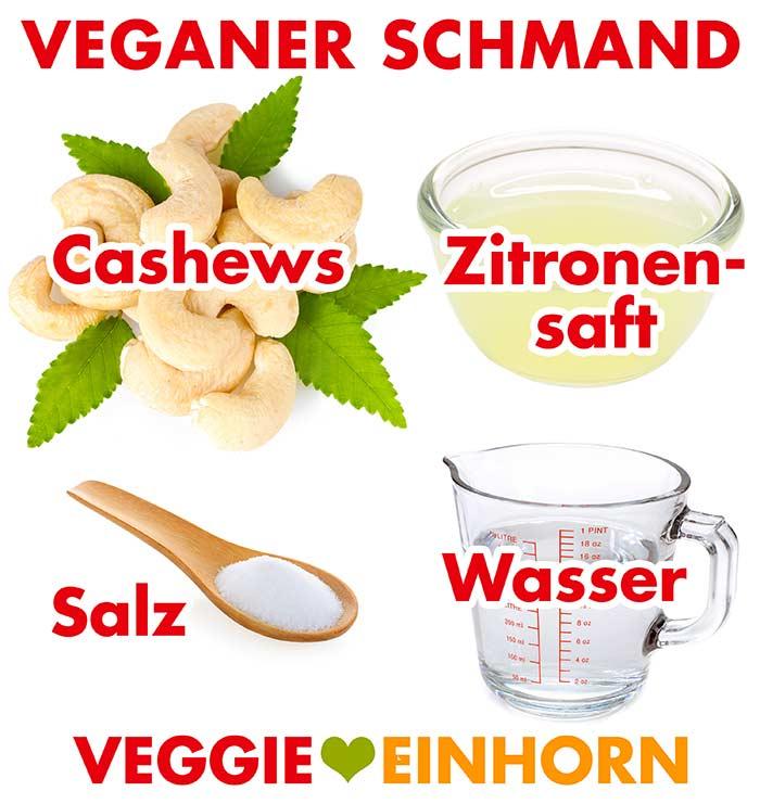 Cashewkerne, Zitronensaft, Salz und Wasser