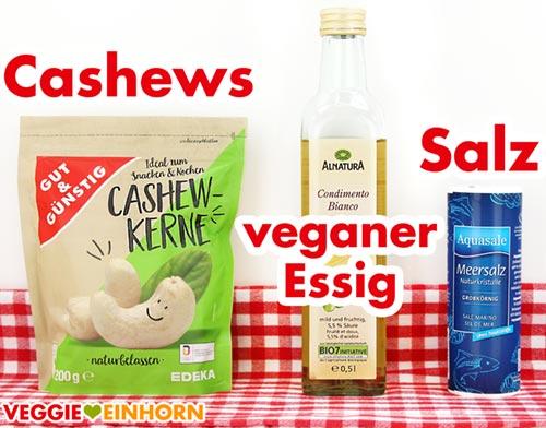 Zutaten für Cashewdip - Cashewkerne, veganer Essig, Salz