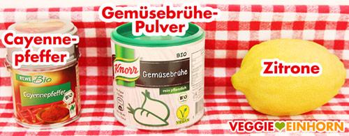 Cayennepfeffer, Gemüsebrühe Pulver, Zitrone