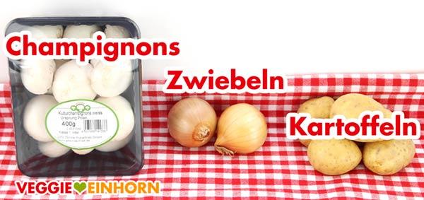 Champignons Zwiebeln Kartoffeln