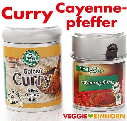 Currypulver und Cayennepfeffer
