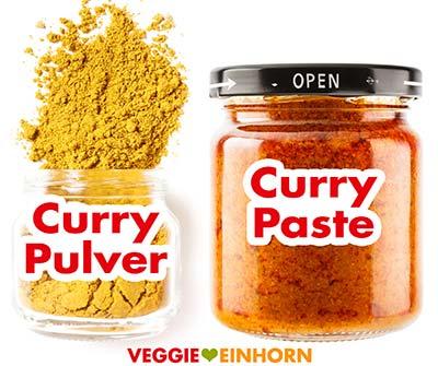 Currypulver und Currypaste im Glas