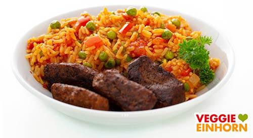 Djuvec Reis mit veganen Cevapcici