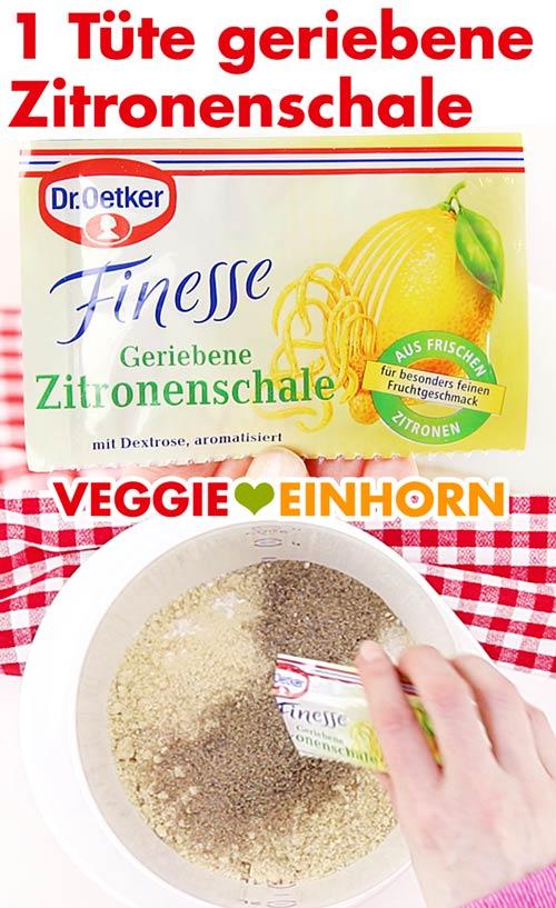 Geriebene Zitronenschale von Dr. Oetker zufügen